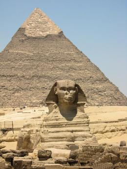 A view of the second largest pyramid, the Pyramid of Kephren, at the Sphinx on the Giza Plateau., Rachel F - July 2008