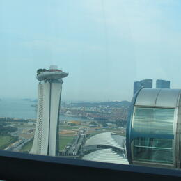 almost even with the boat ontop of marina bay sands resort. , Clare B - July 2014