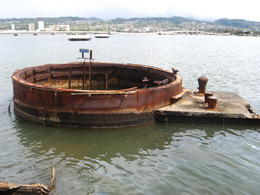 Remains of the USS Arizona visible from the memorial., Bandit - February 2011