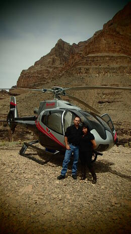 Photo of Las Vegas Grand Canyon Helicopter Tour from Las Vegas In front of the Helicopter that flew us to the Canyon