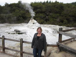Here I am getting ready for the Lady Knox Geyser to erupt. With a little bit of soapy science, the geyser bursts through the rocks. , Laurie B - July 2012