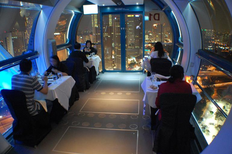 We got to dine in the sky on the Singapore Flyer with great views of the city.