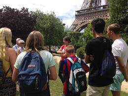 Photo of Paris Skip the Line: Eiffel Tower Tickets and Small-Group Tour Sarah our tour guide giving her pre climb chat.