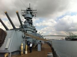 Photo of Long Beach Battleship Iowa Museum Admission in Los Angeles cannns already capable to fire behind the horozun