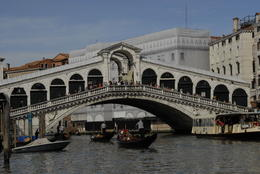 View of the Rialto Bridge from the boat just before we passed underneath. , Janet H - May 2014