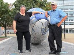 Frank and I at The Big Fish - made of thousands of beautifully made ceramic tiles. , MommaK - September 2013