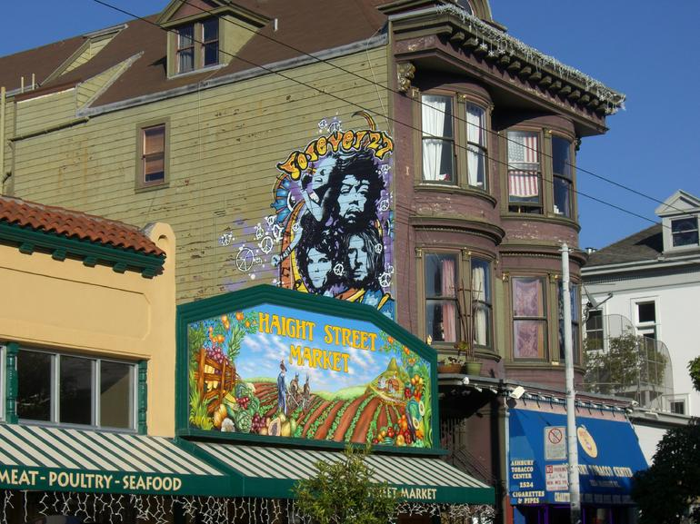 Haight St. Market and Jimi Hendrix painting in Haight-Ashbury - San Francisco