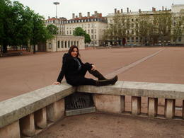 My friend posing at Place Bellecour, Cat - January 2012