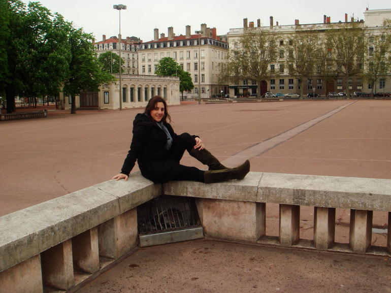 My friend posing at Place Bellecour - Lyon