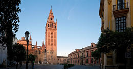 Daybreak illuminating the iconic Moorish and Renaissance bell tower of La Giralda - June 2011