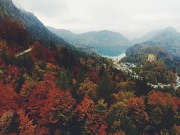 This is the view from Neuschwanstein Castle in the fall, looking down on the village of Hohenschwangau. , Margaret F - October 2015