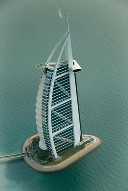 Burj Al Arab Hotel from the air , A P - August 2013