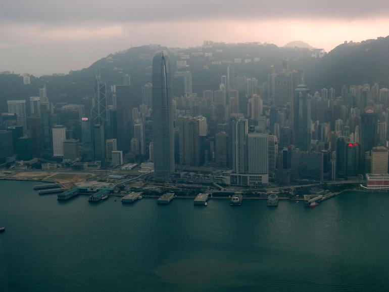 Central Ferry piers and ifc from Sky100 - Hong Kong
