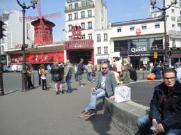 Photo of Paris Moulin Rouge Show Paris Enjoying a glass of wine outside the Moulin Rouge