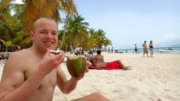Me enjoying a fresh coconut on the beach. , Allan - September 2015
