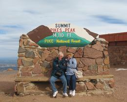 Janet and Fred, freezing at the summit of Pikes Peak. A cog railway ride from Manitou Springs. Bet you dont go there, Viator! , F B - March 2011