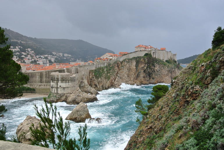 View of the city walls during a very stormy day