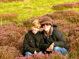 My son and I in the Scottish Heather , melissa T - September 2011
