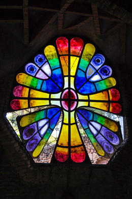 Beautiful stained glass window at crypt in Colonial Guell , Nathan - March 2013