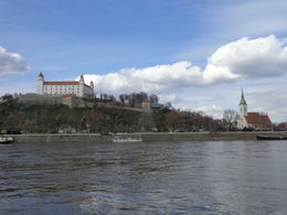 The castle and St Martin's Cathedral from the Danube , New Moles - April 2015