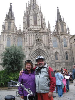 Photo of Barcelona Barcelona Half-Day Bike Tour In front of Cathedral.