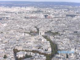 Arc de Triomphe & surrounds from top of Eiffel Tower, A W - September 2010