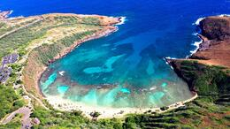 Aerial view of Hanauma Bay , Michelle C - January 2014