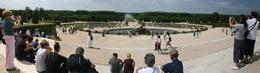 Panoramic composite of main fountain. Taken July 31, 2010. Crowd shot - August 2010