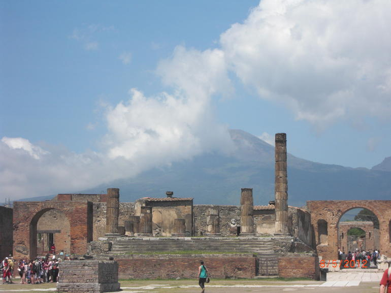 view of Vesuvius from Pompeii - Naples