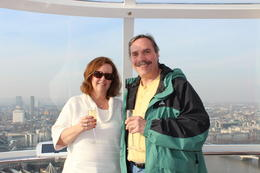 My husband and I on the London Eye, sipping champagne on our first day in London. , Shawn - March 2012