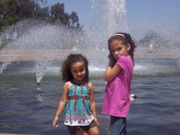 Our girls posing at one of the fountains in Balboa Park., Travel Mom - September 2010