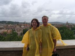 A break in the rain for a quick pic. Glad to have the ponchos provided by our tour guide!, Sheila - July 2010