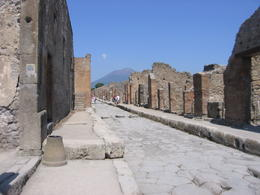 Vesuvius is visible behind the ruins. Before the eruption it was twice the height! , William I - August 2011
