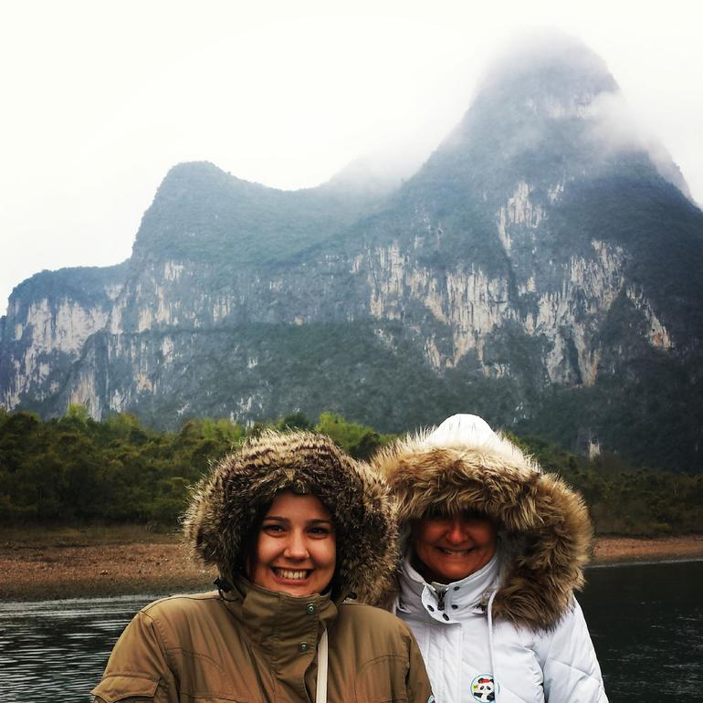 Li River cruise - standing on the top deck - Guilin