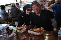 Delicious baked lobster for lunch at Cervantes lobster farm , Hasnah A - March 2015