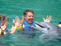 The dolphins came right up to us a sang a beautiful song at Dolphin Cove - September 2011