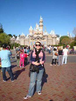 Out the front of the Magic Kingdom at Disneyland LA , Millie - March 2011