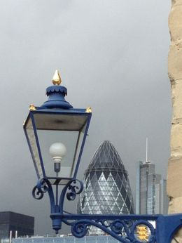 Gherkhin Tower peaking out behind a London Tower lamppost. , Wendy K - September 2015