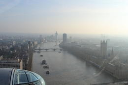 View from the Eye up the Thames towards the Parliament building and Big Ben. Big Ben is the tall tower in the foreground. , Shawn - March 2012
