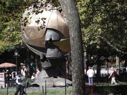 This globe, which once stood between the Twin Towers, was taken from Ground Zero and placed in Battery Park as a memorial. It epitomizes a universal damaged world in which we live., ALYSON F - October 2009