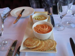 The appetizer- Hummus Dip and my favorite Roasted Red Capsieum Dip very delicious, Nicks - January 2014