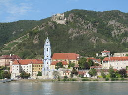 A view of Durnstein from the beach across the Danube , Robin M - August 2012
