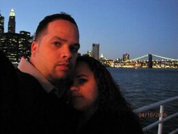My husband and I out on the deck of the yacht enjoying the city, Pedro B - April 2010