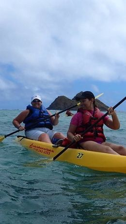Yvonne and Lauri on our kayak tour in Kailua bay. Waikiki, Oahu , Lauri F - March 2015