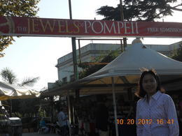 Posing in one of the shopping stores in Pompeii. , Leonila C - October 2012