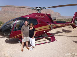 Doug and Diana Lewis at the base landing in the Grand Canyon- July 2014 , Diana L - July 2014