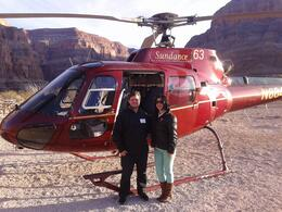 My wife and I in a awesome helicopter sightseeing inside the Grand Canyon with a good champagne toast. , Bira - January 2014