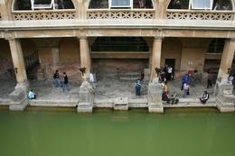 The ancient waters of the Roman Baths lie below, as I looked over the edge of the promenade., Heather G - September 2008