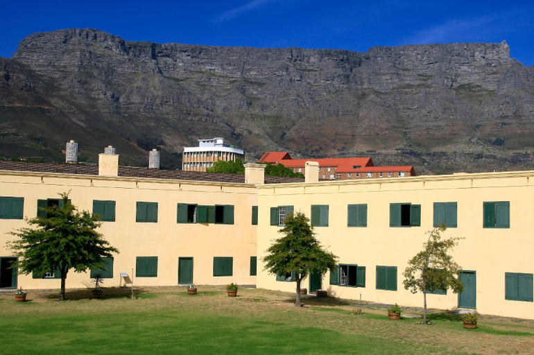 Castle of Good Hope, the oldest building in South Africa, a famous landmark with Table Mountain behind - Cape Town