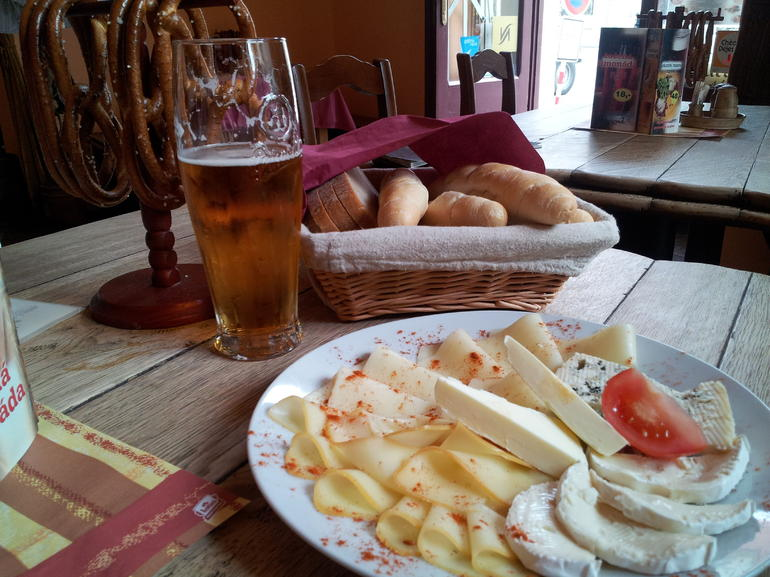 Beer and the food selection - Prague